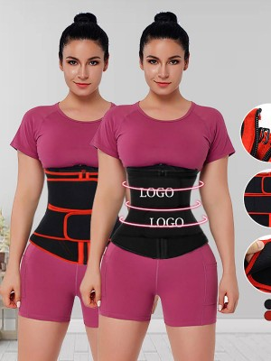 Black Neoprene Double Belts Waist Trainer Tummy Training