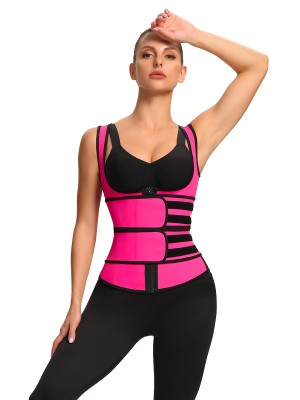 Rose Red Double Belt Zipper Latex Waist Trainer Vest High-Compression