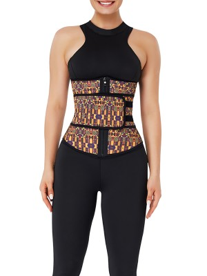 Smoothing Zipper African Printing Latex Waist Trainer Close Fitting