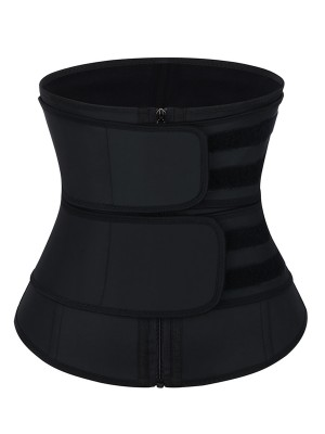 Black Latex Waist Trainer Double Belts With Zipper