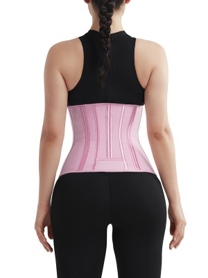 Durable Pink 4 Rows Hook Waist Cincher Three-Layer High Quality