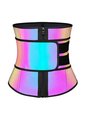 Rainbow Reflective Latex Waist Trainer 7 Steel Bones Slim Waist