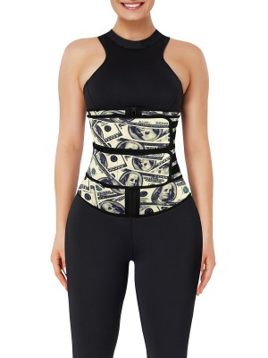 Double-Belt Latex Waist Trainer Dollar Pattern Flatten Tummy