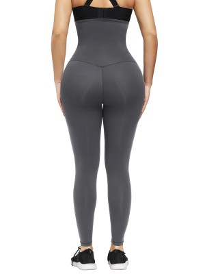 Gray High Waist Shapewear Leggings Ankle Length Lose Weight