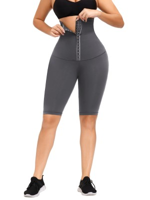 Gray High Rise Waist Trainer Shapewear Leggings Slimming Belly