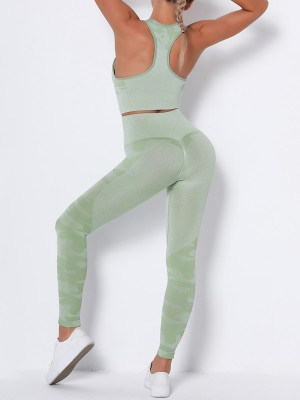 Feisty Green Running Suit Seamless Wide Waistband Versatile Item