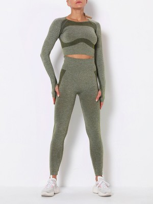 High Elasticity Army Green Raglan Sleeve Sweat Suit Seamless Cut Out Slim