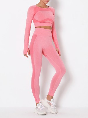 Tight Pink Thumbhole Crew Neck Sports Suit Seamless Women's Clothes