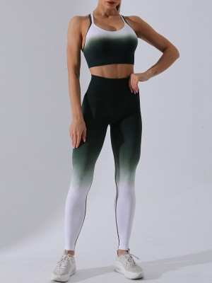 Glamorous Green Backless Sling Bra Ankle Length Leggings Soft-Touch
