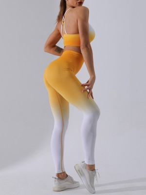 Multi-Function Yellow Running Suit Dip Dye Seamless Sleeveless Elasticity