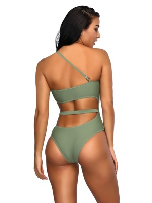 Green Cut Out High Leg One Piece Swimwear Adjustable Sling