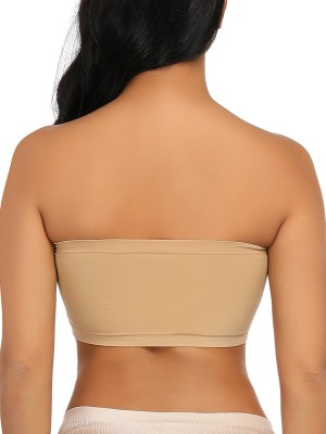 Skin Color Seamless Bandeau Off Shoulder