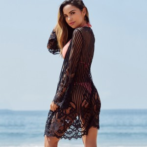 Versatile Lace Eyelash Black Beach Dress Cardigan Big Size Chic Trend