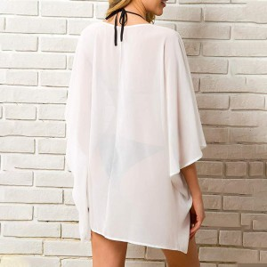 White Bat Sleeve Chiffon Cardigan Mini Length Beach Dress Sandbeach Fashion