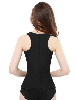 Black Large Size Tank Shaper With Zipper Front