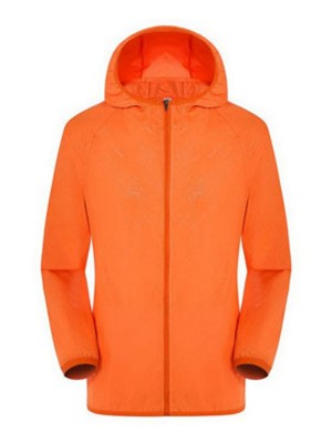 Orange Sun-Protective Coat Elastic Bands With Hood