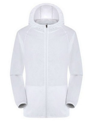 White Windproof Coat Zipper Big Size Pockets