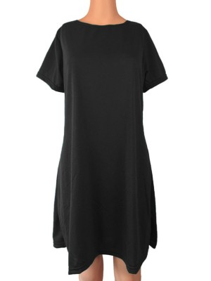 Black Midi Dress Short Sleeve Crew Neck For Lounging