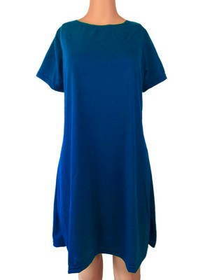 Blue Loose Fit Midi Dress Round Collar For Women