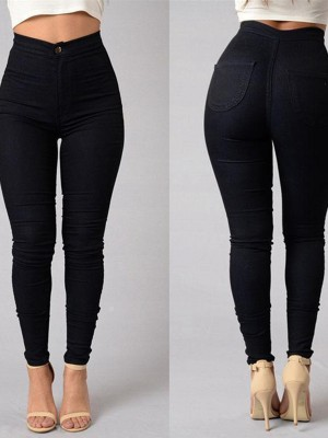Black Plus Size Pants Ankle Length Button Design