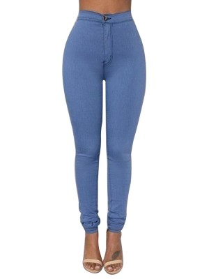 Blue High Waist Solid Color Pants For Ladies