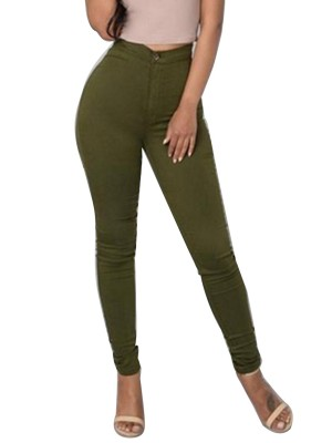 Green Full Length Pants Large Size High Rise Women