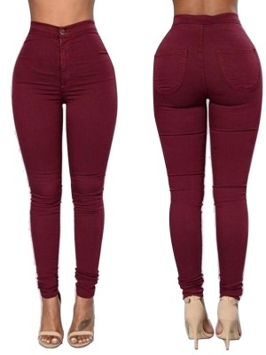 Wine Red Ankle Length High Waist Big Size Pants