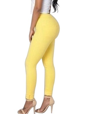 Yellow Single Button Ankle Length Big Size Pants