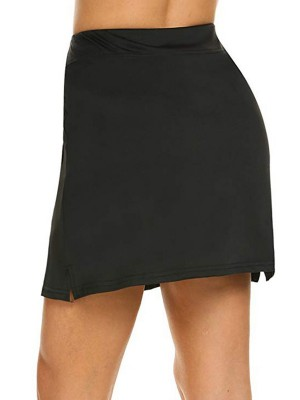 Black Two-Layer Skirts With Shorts Pockets For Running