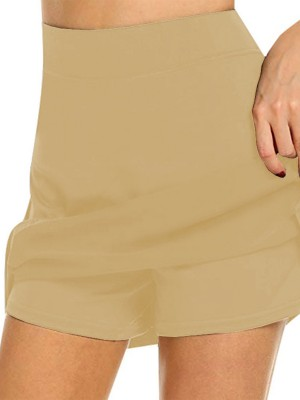 Khaki Queen Size Tennis Skirt Mini Length Slit