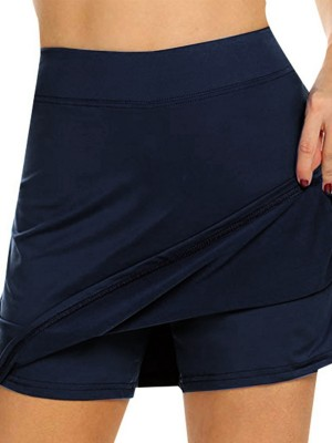 Dark Blue Running Skirt Solid Color High Waist Fitness