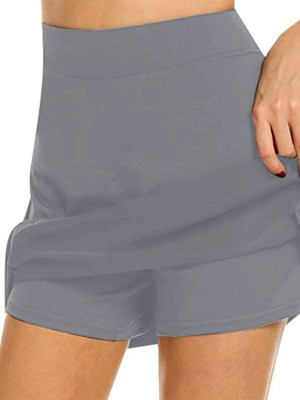 Gray Large Size High Rise Mini Length Sports Skirt