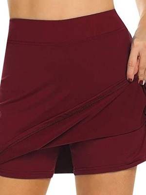 Wine Red Sports Skirt High Rise Side Slit For Girls