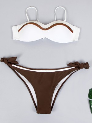 Tight Bikini Patchwork Bow-Knot Open Back Summer Honeymoon