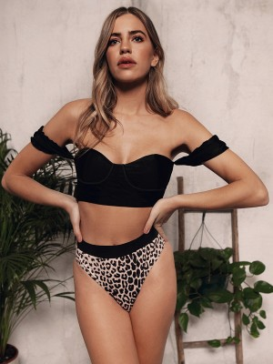 Eye Catching Black Off Shoulder Bikini Leopard Print Feminine