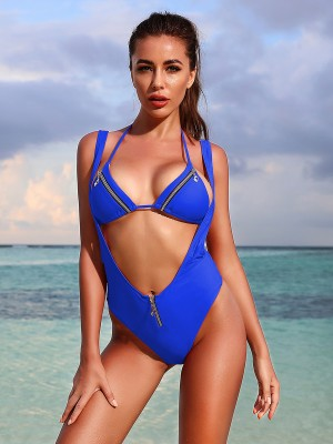 Awesome Blue Halter Neck Suspender Bikini Backless For Fashion