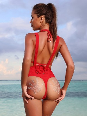 Colorful Red Back Straps Swimsuit Zip Suspender Sandbeach