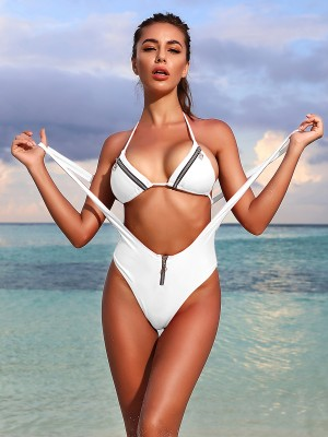 Sweety White Zipper Suspender Bikini Sets Halter Charming