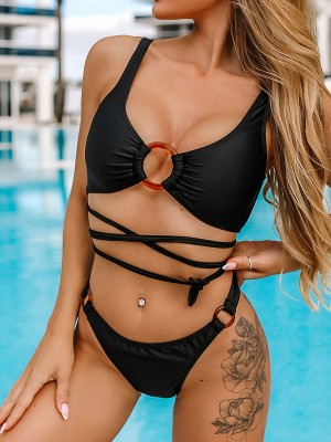 Unique Black Bikini Tie Circular Ring High Leg Fashion For Women