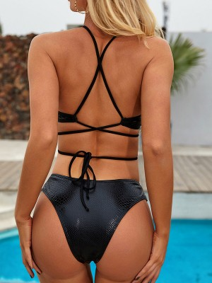 Ruching Black Serpentine Print Bikini High Waist Online