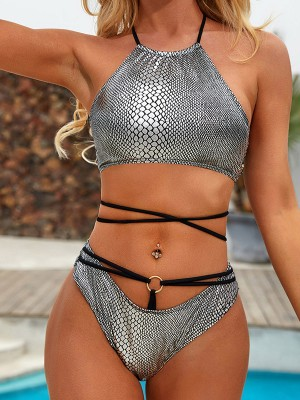 Modern Ladies Silver Tie Bikini Open Back Halter Collar Female