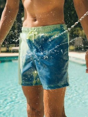Striking Green Color Changing Quick Dry Swim Shorts High Quality