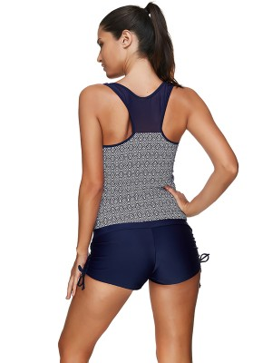 Beach Vacation 2 Pieces Racerback Tankini Patchwork Swimming Time