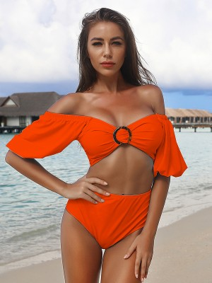 Sweetheart Orange Off Shoulder Solid Color Bikini Comfort Fit