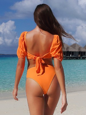 Astonishing Orange Padded Beachwear Set High Rise For Women