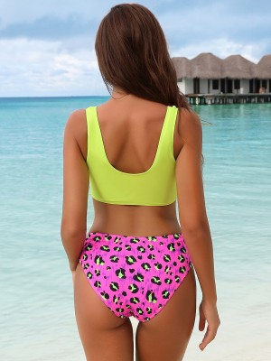 Bright U-Neck Two Pieces Swimwear Zipper Fashion Shop Online
