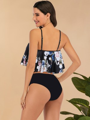 Colorful Bikini Flower Print Sling High Rise Fashion Swimwear