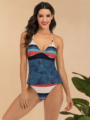 Flirty Tankini Swimwear Halter Neck Stripe Slimmer