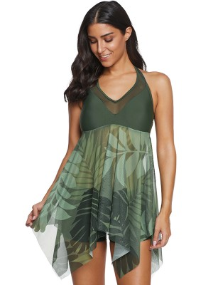Enthusiastic Green Irregular Long Hem Swimwear Mesh
