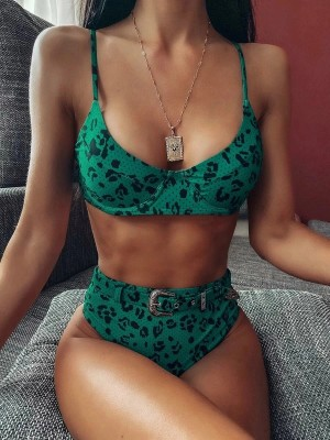 Abstract Green Adjustable Sling Bikini High Rise Garment